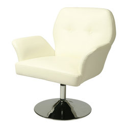 Pastel - 31.5 in. Upholstered Club Chair in Ivory - The Zevi club chair is a smart and modern design blends quality, value, style as well as comfort to any room. Add not only a style and classic look but one with a modern appeal as well.