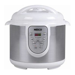 Metal Ware Corp. - Nesco Pressure Cooker 6 Liter - Nesco PC6-14 6 Liter, 4-in-1 Pressure Cooker - Pressure cooking can cut cooking time by up to 70%. Even more impressive, the Nesco 6 Liter 4-in-1 Pressure Cooker is really four appliances in one: pressure cooker, steamer, slow cooker and rice cooker. Functions are preset and programmable for up to an eight hour delay, so dinner's ready when you get home. Self-locking hinged lid and non-stick cooking insert are removeable for easy clean-up. Features: 6 liter capacity, 1000 watts, removable hinged lid with automatic pressure release, dishwasher safe non-stick cooking insert, delayed start up to 8 hours, LED display and soft-touch buttons, convenient keep warm feature, programmable with preset functions, stay-cool lid and handles.