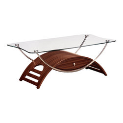 Global Furniture - Global Furniture USA 63MC Meryl Clear Glass Coffee Table in Mahogany - This modern coffee table is made of tempered glass and is finished in mahogany. The chrome pipes makes this table a focus point for any living room.