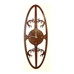 IronCraft - Koko Oval Clock - -Handmade by skilled American craftspeople  -Rust finish  -Slight variations in color and dimensions will occur due to the handmade nature of the product  -During the finishing process each piece of steel develops its own unique pattern of light and dark tones and no two pieces are the same  -Lacquer coated to preserve the beautiful patina  -Clock runs on 1 AA battery, not included    -Made in USA IronCraft - 9853RU