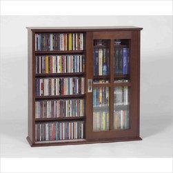Leslie Dame - Leslie Dame Mission Wall Hanging Sliding Door CD/DVD Cabinet in Walnut - Leslie Dame - CD & DVD Media Storage - MS350W
