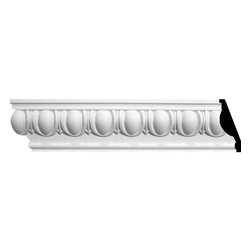 "Ekena Millwork - 4 3/4""H x 2 3/8""P x 5 1/4""F x 96""L Egg & Dart Crown Moulding - 4 3/4""H x 2 3/8""P x 5 1/4""F x 96""L Egg & Dart Crown Moulding. Our beautiful panel moulding and corners add a decorative, historic feel to walls, ceilings and furniture pieces- They are made from a high-density urethane which gives each piece the unique details that mimic that of traditional plasting and wood designs but at a fraction of the weight- This means a simple and easy installation for you- The best part is that you can make your own shapes and sizes by simply cutting the moulding pieces down to size and then butting them up to the decorative corners- These are also commonly used for an inexpensive wainscot look-Features- Modeled after original historical patterns and designs-- Constructed from solid urethane for maximum durability and detail-- Lightweight for quick and easy installation-- Factory-primed and ready for paint or faux finish-- Can be cut, drilled, glued and screwed-- Designed for use on both interior and exterior applications-- Material- Urethane"