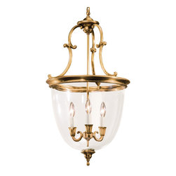 """Inviting Home - Curved Glass Lantern - round lantern with three lights antiqued brass finish and curved glass 16"""" x 30-1/4""""H Solid cast brass round lantern with three lights. Lantern is finished in antiqued brass and has curved glass. This lantern is for candelabra bulbs only; max. 60 watts each bulb"""