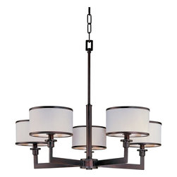Maxim Lighting - Maxim Lighting Nexus Modern / Contemporary Chandelier X-IOTW55021 - Giving a scenic look with charming appeal, this chandelier displays intimate ambient lighting produced by the white fabric drum shades. The Maxim Lighting Nexus contemporary chandelier features a structured and angular frame with oil rubbed bronze finish. The delightful chandelier creates a classy yet feminine atmosphere.