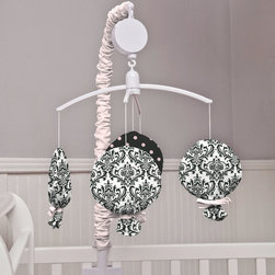 Black and White Damask Crib Bedding - Featuring peripheral balloons in White and Black Damask, with center balloon in Black and Pink Dot. Balloon ties are done in Solid Pink and arm cover is in Solid Pink.