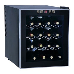 SPT Appliance - 16-Bottle Wine and Beverage Cooler with Doubl - Like having your own personal wine cellar, with this handy beverage cooler you'll always have a bottle perfectly chilled and ready to serve.  Medium capacity cooler horizontally stores sixteen standard bottles keeping corks moist. One-touch thermostat control with LED readout allows you to perfectly moderate the temperature to enhance the flavor of most any red or white wine. Black finish cabinet is free-standing and the compact design will fit neatly just about anywhere. 16 standard bottles / 50L capacity. Touch sensitive control panel with LED temperature display. No vibration (bottle sediment is not disturbed). Double pane glass door. Adjustable thermostat. Soft interior lighting with switch. Black cabinet with platinum trim. Freestanding design. 3 slide out chrome shelves. Adjustable level legs. Recessed handle. Low power consumption. Cooling temperature: 52~65�F. ETLRecommended temperatures for chilling wine:. Full Red (59 - 65�F). Light Red (54 - 57�F). White & Rose (46 - 57�F). Sparkling Wine & Champagne (41 - 47�F). As this unit cannot cool below 52�F, may not be suitable for sparkling wine & champagne.Specifications. Input voltage: 110-120V / 60Hz. Capacity: 16 bottles / 50 liters. Input power: 70W. Power consumption: 1.0kWH/24hrs (59�F). Color: Black with platinum trim. Temperature range: 52 ~ 65�F. Operating temperature: 52 ~ 89�F. Maximum temperature variance: 25�F between ambient and unit. 17 in. W x 19 in. D x 20 in. H (30 lbs.)16 standard bottles capacity with 3 removable shelves. Tinted double-pane glass door, recessed handle with black cabinet and platinum trim reflects a sleek and contemporary look. Touch sensitive control panel with LED temperature display on door. ThermoElectric Technology (no compressor) offers a quiet operation with no vibration. Adjustable temperature between 52 to 65�F.