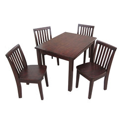 None - Juvenile Java Mission Table with Four Chairs Set - Let the little ones dine in style with this kids mission table. This sturdy,rectangular table includes four chairs and is constructed from solid parawood,complete with a polished java finish,making it perfect for even the littlest dining guests.