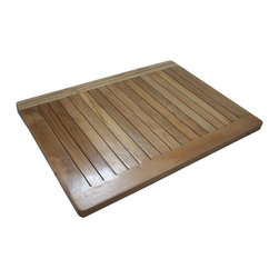 None - Solid Teak Slat Shower Spa Mat - This quality teak shower spa mat is designed and handcrafted from solid teak wood valued for its remarkable resistance to moisture and humidity. The slat design mat has great durability along with a luxurious smooth texture.