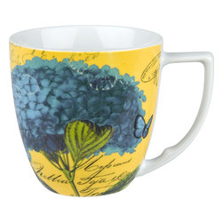 Waechtersbach - Impressions Set of 4 Mugs Impressions Hydrangea in Blue - Hydrangeas and butterflies form an enchanting alliance in this set of four matching mugs. Made from dishwasher-safe porcelain and blessed with a generous handle, these mugs will start (or end) your day with a smile.