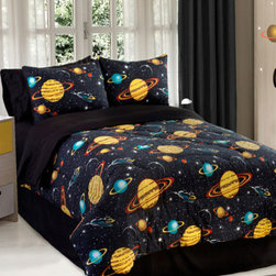 Veratex Inc - 3pc Rocket Star Space Galaxy Twin Bedding Comforter Set - FEATURES: