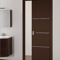 Milano-1M5 Interior Door - This door has sleek lines and a different door handle that would enhance the unique contemporary feel of a space. I like the horizontal metal details spaced down the door.