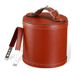 Kathy Kuo Home - Derby Rustic Lodge Ox Blood Leather Nickel Ice Bucket Tong Set - Look cool while keeping your drinks cold with this classic brown leather ice bucket finished in polished nickel. The luxurious leather lid and strap protect the contents inside while allowing movement from refrigerator to bar and table with ease.