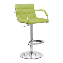 Zuri Furniture - Lime Green Ego Bar Stool - Chrome Base - The Ego bar stool is a contemporary design that will enhance any environment. Padded with high density foam and covered in soft faux leather for superior comfort, the unique tubular seat cushions bring a sense of chic to the overall design. Steel stem, footrest, and base plated in chrome for a sleek finish. Equipped with gas lift mechanism to allow height adjustment and 360 degree swivel as well as a base integrated with rubber floor protector. What's wrong with having a little ego? Base Diameter - 18 inch Overall: 20 inch(W) x 20 inch(D) x 44 inch(H) Seat: 17.5 inch(W) x 15.5 inch(D) x 15 inch(H)