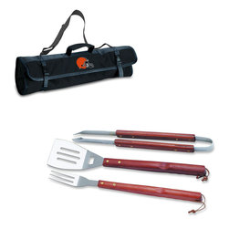 """Picnic Time - Cleveland Browns 3-pc BBQ Tote in Black - The Metro BBQ Tote stands out among other portable barbecue tool sets. It's a 3-piece BBQ tool set with silicone handles in an attractive black polyester zip-up case with an adjustable shoulder strap to match the handles of the tools inside. It includes three stainless steel tools: 1 large spatula featuring a built-in bottle opener, grill scraper, and serrated edge for cutting (17.5"""") , 1 BBQ fork (17""""), and 1 pair of tongs (16.5""""). All three tools have long handles to keep your hands away from the flames and metal loops at their ends to hang them on your barbecue. Why not add a little color to your day with the Metro BBQ Tote?; Decoration: Digital Print; Includes: 1 (25"""") spatula with built-in bottle opener, 1 (18.75"""") pair of tongs, and 1 (19"""") fork"""