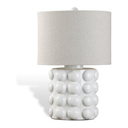 Interlude - Interlude Sansa Bubble Lamp - White - The Sansa Bubble Lamp with its deco inspired base in classic white and tan linen shade will compliment any environment.
