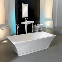 ArtCeram - ArtCeram | Jazz Bathtub - Made in Italy by Art Ceram.A part of the Jazz Collection. The flared form and durable construction of the Jazz Bathtub will modernize any master bathroom undergoing a renovation. The sleek and modern design that widens at the top adds a striking, free-standing, element to larger bathrooms. Made from the durable and reliable livingtec® solid surface, ensuring sturdy and dependable performance for years to come. Product Features:
