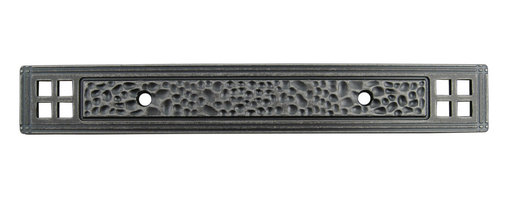 """Stone Harbor Hardware - Arts & Crafts Backplate for Cabinet Pulls, Weathered Nickel - The Arts & Crafts backplate coordinates beautifully with craftsman and transitional styles. Designed for use with our 3"""" Arts & Crafts pull (#9412), the backplate is available in three attractive finishes (satin nickel, flat black and weathered nickel) and features a hammered design.  The backplate measures 6-1/2"""" x 15/16"""" overall and is 3/16"""" thick."""