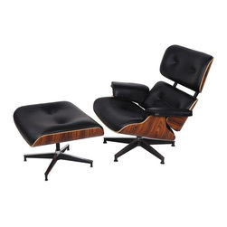Hampton Modern - Eaze Lounge Chair & Ottoman in Black Leather and Palisander Wood - The Eaze Lounge Chair & Ottoman is made of plush genuine leather upholstered on an innovative sleek molded plywood frame set atop a five-star die-cast rotatable steel base. This chair gets better with age, as the high density foam conforms to your body. Oversized armrests and a well-design seat pitch make it comfortable to take a nap, curl up with a favorite book, or watch tv.