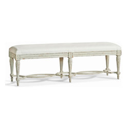 Eloquence - Constance Gustavian French Country Dove Grey White Linen Bench - Long - A luxurious linen-upholstered bench fits beautifully at the foot of your romantic king-size bed. Finished in dove grey wood and detailed with classic French Country carvings, this gorgeous piece graces your bedroom with elegance.