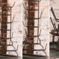 HUGE Half Circle Bottle Rack - Hand forged iron makes up this beautiful half circle bottle rack. Ideal to show off your collection, or just simply to go back to basics and dry those glasses after a dinner party.