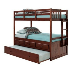 Pine Ridge Twin over Twin Bunk Bed with Trundle - Chocolate