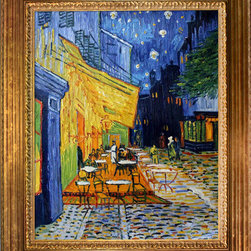 overstockArt.com - Cafe Terrace at Night - Vincent Van Gogh Oil Painting - Created by Dutch painter Vincent Van Gogh in 1888, Cafe Terrace at Night (also known as The Cafe Terrace on the Place du Forum) was painted in Arles, France at a local coffee house. Now the cafe in the painting, Cafe Van Gogh, can still be visited today. Carefully recreated to depict the original scene, the combination of warm colors and depth of perspective are definitely unique to Van Gogh's style of painting. The Cafe Terrace at Night painting is the first painting in which Van Gogh started using backgrounds filled with stars in his work. After this creation, Van Gogh went on to use night skies in many of his other famous works including Starry Night Over the Rhone and Starry Night. This famous painting has been recreated with great attention to detail to make almost exact replica of Van Gogh's famous work. Order one and hang it in your home. The colors and detail will gain many admirers and turn some into lifelong fans.