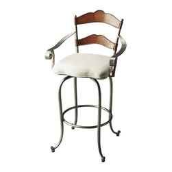 "Butler Furniture - Amberton Metal and Wood Bar Stool - If you're looking for a stool that's fit for a royalty, this is the one for you. With curves aplenty, a luxuriant cherry finish on the wood, an opulent silver finish on the metal and a plush upholstered cushion, this is one elegant seat that will have its occupier thinking, ""It's good to be the king (or queen)."""