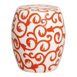 Orange and White Ceramic Garden Stool - This festive orange & white garden stool would light up any room with its bold vine pattern.  Use this cute stool as a small end table beside a chair or out on a porch for extra seating.