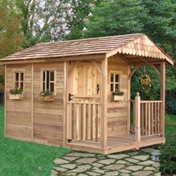 Santa Rosa 8 x 12 ft. Garden Shed - Gone are the days when tool sheds were always unsightly and something you wished to keep hidden from view.  The Santa Rosa is absolutely charming with its Dutch door and front porch.   Store all your tools inside for safekeeping and convenience.