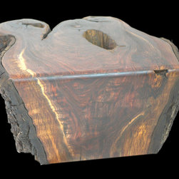 Bartmess Walnut Flowing Grain Coffee Table - Another one of a kind piece.  This rare walnut piece, made from the trunk/root of a walnut tree from Lewis Bartmess farm.  The pieces from this root is the darkest walnut I've run across.  Super dense and heavy, it is still hanging on to some it's bark.