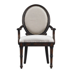 Stanley Furniture - European Farmhouse Oval Back Upholstered Arm Chair, Terrain - This European Farmhouse Oval Back Upholstered Arm Chair is a mixture of traditional comfort and classic design, with fine upholstery and laid back style. This piece has scaled oval back that is thumb-studded with antique brass tacks, and then anchored by carved lumbar brackets to the solid cedar wood base. The tufted Super Comfort seat is wrapped in Oatmeal Linen and mirror matched with brass upholstery tacks attached with graceful bow-pad arms.