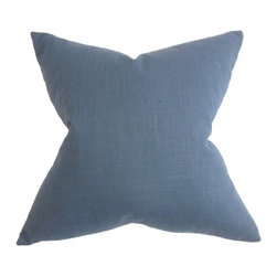 """The Pillow Collection - Ninian Solid Pillow Blue 20"""" x 20"""" - Decorate this accent pillow for a rich and comfy feel to any room. This solid pillow features a rich bold hue which complements various decor themes and settings. Combine this toss pillow with geometric, ikat, stripe for a distinct and inviting living space. This 20"""" pillow is US-made and crafted with 100% cotton fabric. Hidden zipper closure for easy cover removal.  Knife edge finish on all four sides.  Reversible pillow with the same fabric on the back side.  Spot cleaning suggested."""