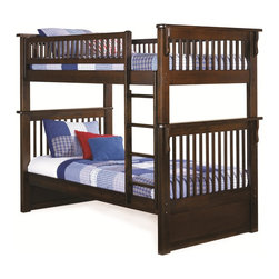 Colorado Twin over Twin Bunk Bed in Antique Walnut - Features: