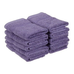 Superior Egyptian Cotton 10-Piece Royal Purple Face Towel Set - Superior Egyptian Cotton 10pc Royal Purple Face Towel Set