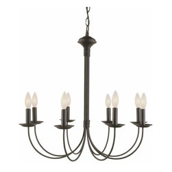 Trans Globe Lighting - New Century Eight-Light Black Chandelier - New Century Eight-Light Black Chandelier Trans Globe Lighting - 9018-BK