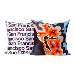 "Cartoloji - San Francisco Map Pillow, Orange - The pillow features a abstract map of the city on the front and the city name text on the reverse. Pillow cover is made from 100%  certified organic cotton sateen and is printed with eco-friendly inks. Pillow insert is a non-allergenic faux-down poly-fill. Pillow dimensions: 17"" x 17"". Hand wash or dry clean. Made in the USA. Listing is for 1 double sided pillow."