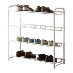 Adarn Inc - Casual Free Standing White Metal Storage Organizer Shelf Shoe Tower Rack - Keep your entry way or closet neat and tidy with this shoe rack. Simple in design, it features a classic look with clean lines and straight edges. Finished in white, it provides ample storage space for all your shoes. Accessories not included.