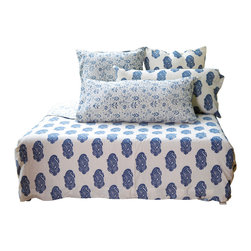 aalamwaar - French Country Indigo Queen Duvet - This French Country ensemble captures the beauty and magic of Indigo. This collection uses raw, unbleached cotton fabric that has been hand-block printed and dyed using natural Indigo dye. The fabrics are softened by a special process that involves steaming