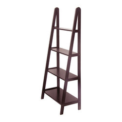 Winsome Wood - Winsome Wood 4-Tier A-Frame Shelf - Distinctive A -Frame design offers a sleek and modern look. 4 sturdy shelves, different depths narrowing toward top. Made of sturdy beech wood with an elegant dark stain. Shelf (1)