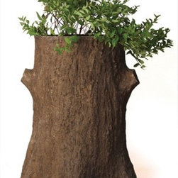 "OrlandiStatuary - Tree Trunk Planter Planter - Features: -Planter. -Material: Fiber stone. -Mixture of stone cast directly into the surface, then reinforced with a fiberglass backing. -Carefully stained to give the appearance of age. -Lightweight, extremely durable, less fragile than concrete. -Handmade and outdoor safe. -Made in USA. -Dimensions: 30"" H x 24"" W x 21"" D."