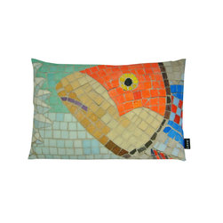 Lava - Orange Fish Mosaic 15 x 23 Pillow (Indoor/Outdoor) - 100% polyester cover and fill. Made in USA. Spot clean only. Safe for use indoors or out.