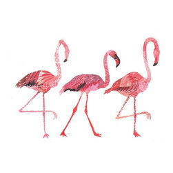 All The Single Ladies - Archival Print - They may be a little tacky when they are perched all over the front yard, but they sure are fabulous when beautifully rendered in this art print! Why not add some pink flamingo style to your interior?