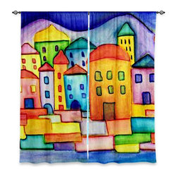 """DiaNoche Designs - Window Curtains Lined by Dora Ficher Colorful Place - DiaNoche Designs works with artists from around the world to print their stunning works to many unique home decor items.  Purchasing window curtains just got easier and better! Create a designer look to any of your living spaces with our decorative and unique """"Lined Window Curtains."""" Perfect for the living room, dining room or bedroom, these artistic curtains are an easy and inexpensive way to add color and style when decorating your home.  This is a woven poly material that filters outside light and creates a privacy barrier.  Each package includes two easy-to-hang, 3 inch diameter pole-pocket curtain panels.  The width listed is the total measurement of the two panels.  Curtain rod sold separately. Easy care, machine wash cold, tumble dry low, iron low if needed.  Printed in the USA."""