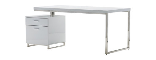 ... filing cabinet attached to its base. The desktop swivels to adjust the