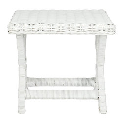 Safavieh - Manor Bench - White - A casual new take on the classic X-bench, this transitional iteration of the centuries old design works beautifully with any decorating style. Crafted of white woven rattan seat with contrasting wrapped legs and cross bar, the Manor Bench adds pizazz in pairs in front of the bed, or for seating in family room, living room and even the master bath.