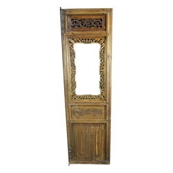 EuroLux Home - Consigned Antique Chinese Window Shutter Carved Dragon - Product Details