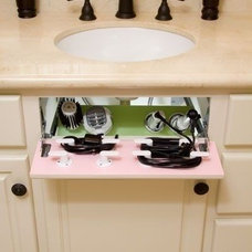 Install a Fake Drawer under Sink to make a Hair Dryer and Curling Iron Storage S