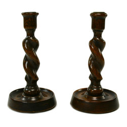 Lavish Shoestring - Consigned 2 Barley Twist Carved Oak Candlesticks, Vintage English, circa 1930 - This is a vintage one-of-a-kind item.