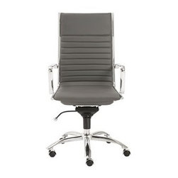 Euro Style - Euro Style Dirk Gray High Back Office Chair - High or low. Armrests or not the Dirk design is very popular for all the right reasons. The front of the seat and the top of the back are one-piece sections for a finished look. The inner seat and lower back are flat bungee bands which offer outstanding comfort that is famous everywhere in the known world. Euro Style is more than a brand name – it is a complete design approach.  The ever-growing furniture collections for living room bar dining room and office bring cutting-edge contemporary style from Euro Style's designers in Europe and factories in Italy and Asia. Euro Style has continued to grow focusing on the latest in contemporary design. Today Euro Style occupies 30000 square feet of permanent showroom space in both the High Point North Carolina and Las Vegas Nevada markets and also shows during the four major Hospitality/Contract Markets in the US. Euro Style manufacturers and distributes RTA modern furniture with factories in Italy and East Asia. Euro Style occupies a warehouse in Union City California of more than seventy thousand square feet and ships next day after order confirmation. Features include Leatherette over foam seat and back BIFMA approved chromed steel base Chromed aluminum armrests Flat bungee band seat construction inside seat Additional colors available Durable easy-to-clean leatherette Additional colors available Tilt mechanism locks in multiple position Strong BIFMA approved components.