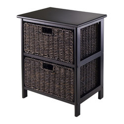 """Winsomewood - Omaha Storage Rack with 2 Foldable Baskets - Simple with plenty of storage for this Omaha storage rack with foldable baskets. Choose from 2, 3 or 4 baskets rack. Baskets open size is 13.98""""W x 10.63""""D x 7.48""""H and folded size is 23.03"""" x 9.84"""" x 1.97"""". Overall 2 Baskets storage rack size is 16.73""""W x 12.40""""D x 20.47""""H and finished in Black color. Rack is made with combination of solid and composite wood. Basket is corn husk. Assembly require."""